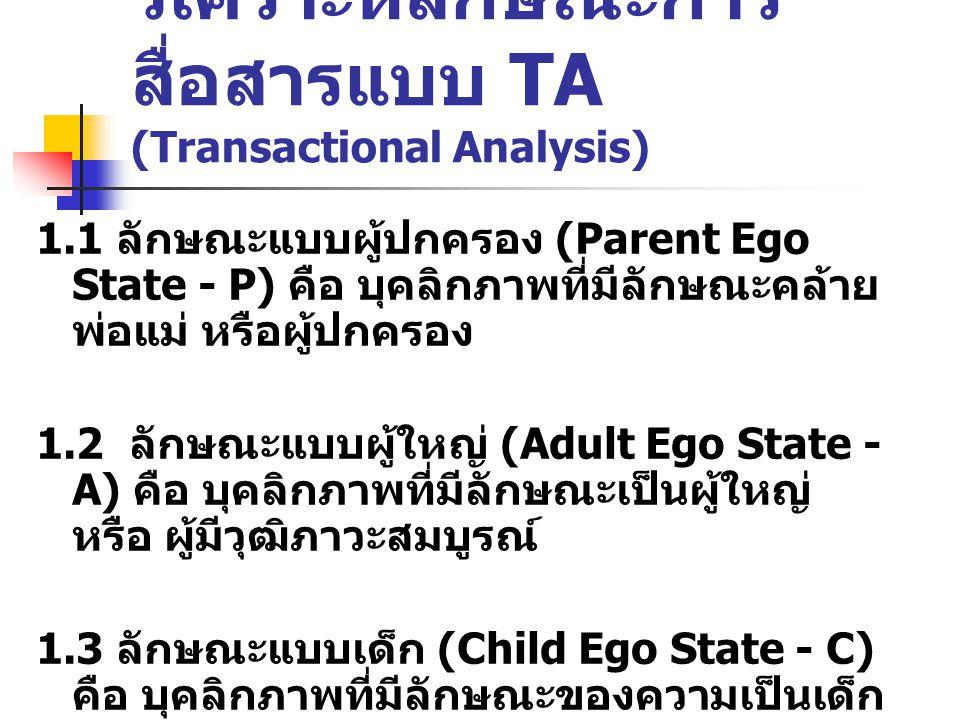 วิเคราะห์ลักษณะการสื่อสารแบบ TA (Transactional Analysis)