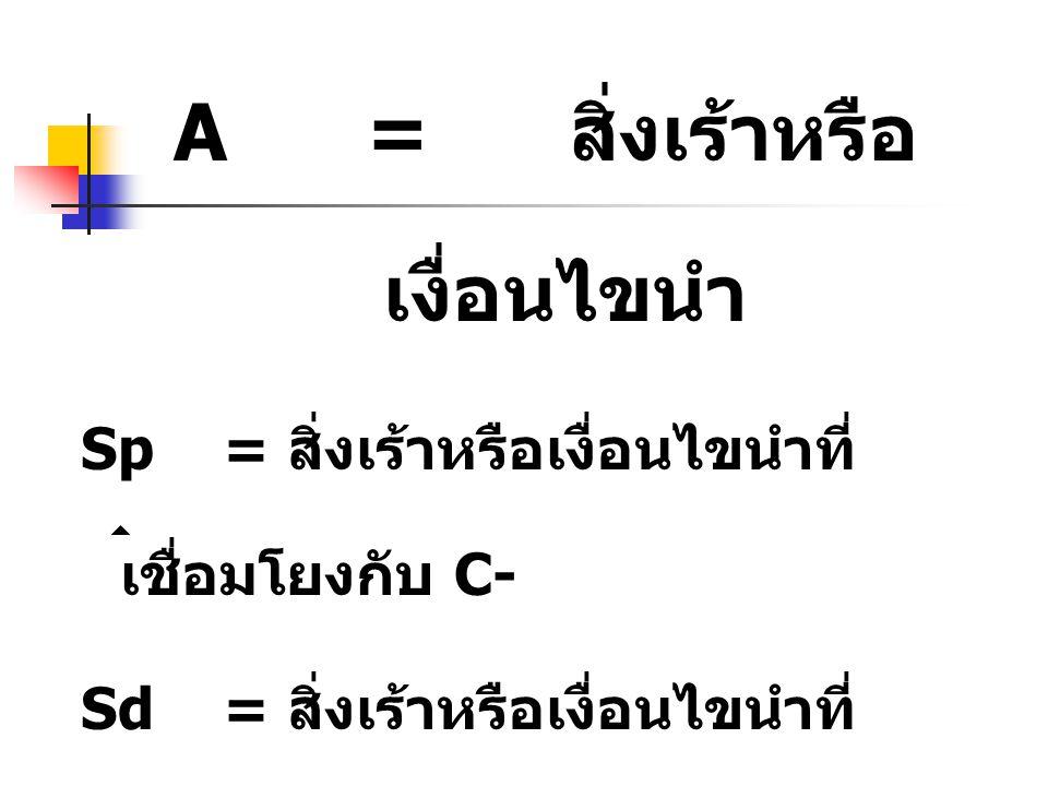 A = สิ่งเร้าหรือเงื่อนไขนำ