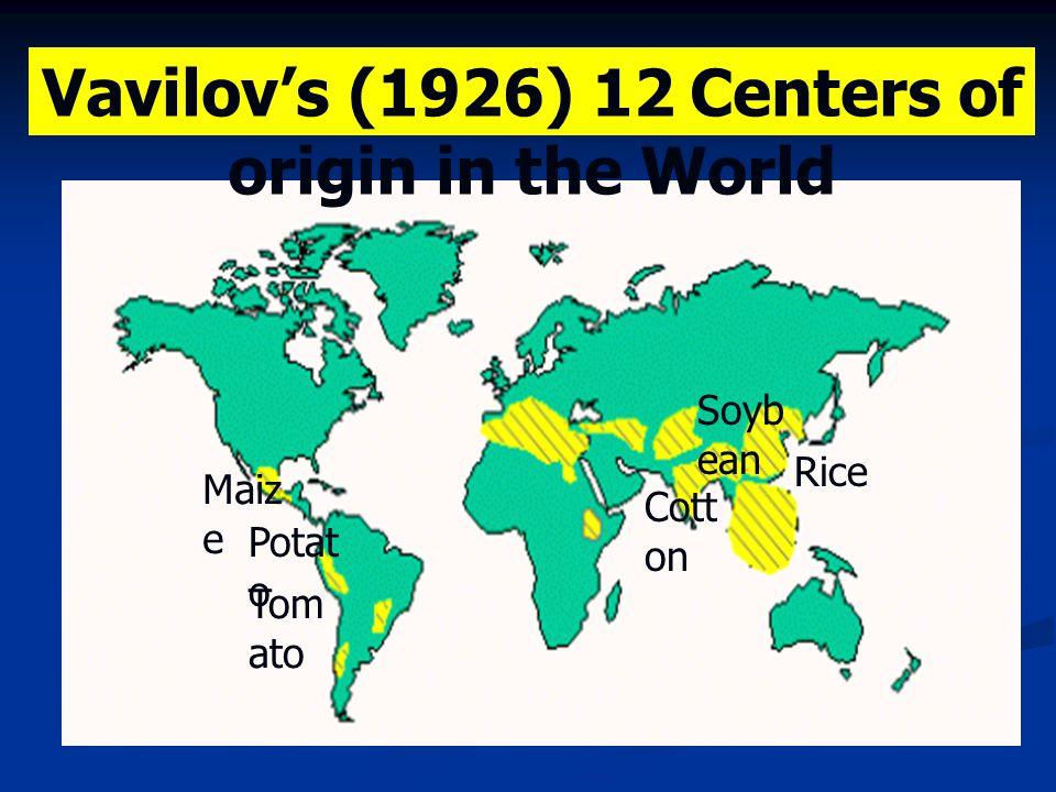 Vavilov's (1926) 12 Centers of origin in the World