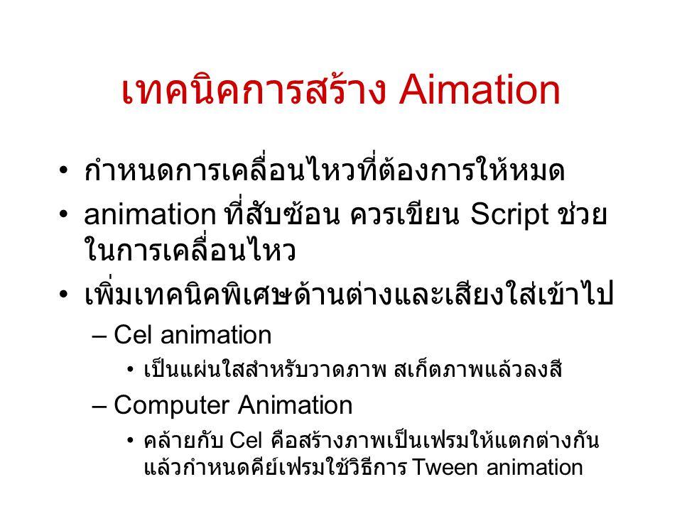 เทคนิคการสร้าง Aimation