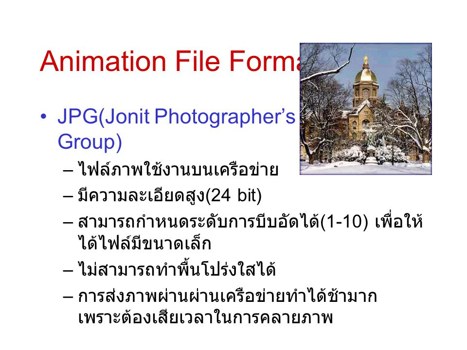 Animation File Format JPG(Jonit Photographer's Expert Group)