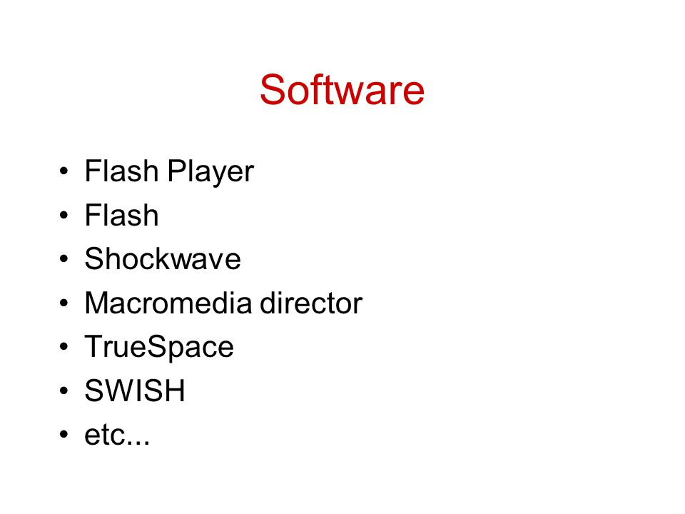 Software Flash Player Flash Shockwave Macromedia director TrueSpace