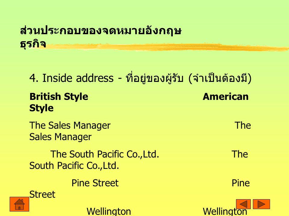 ส่วนประกอบของจดหมายอังกฤษธุรกิจ