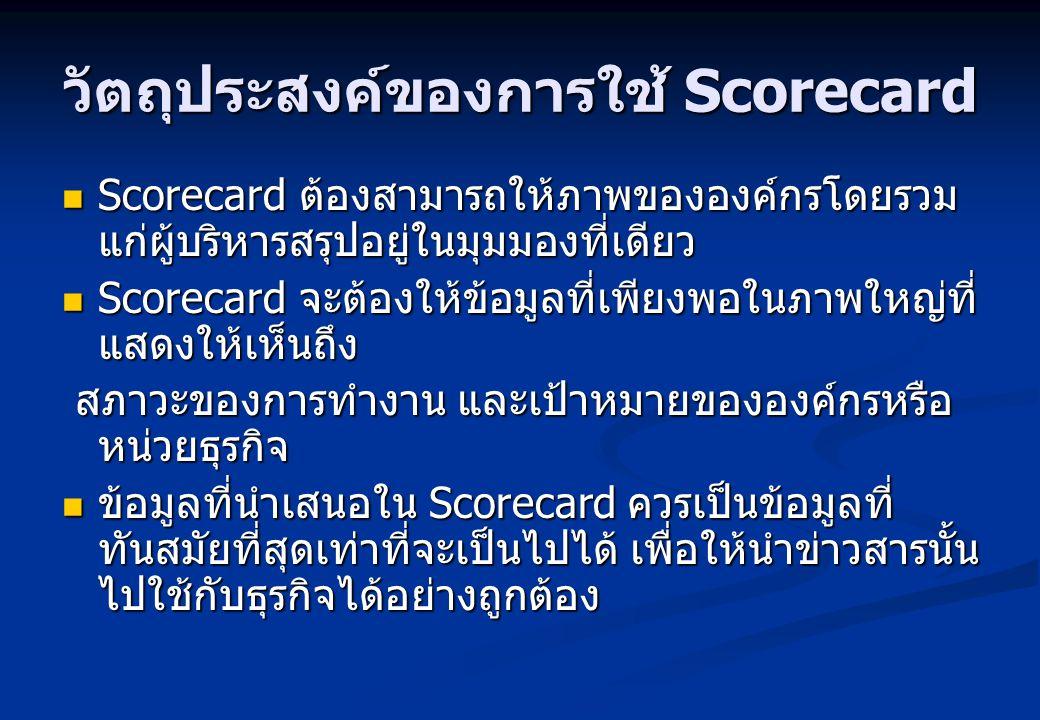 วัตถุประสงค์ของการใช้ Scorecard