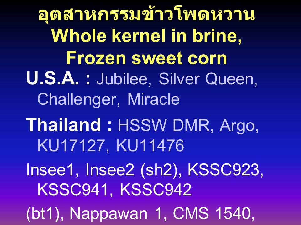 อุตสาหกรรมข้าวโพดหวาน Whole kernel in brine, Frozen sweet corn