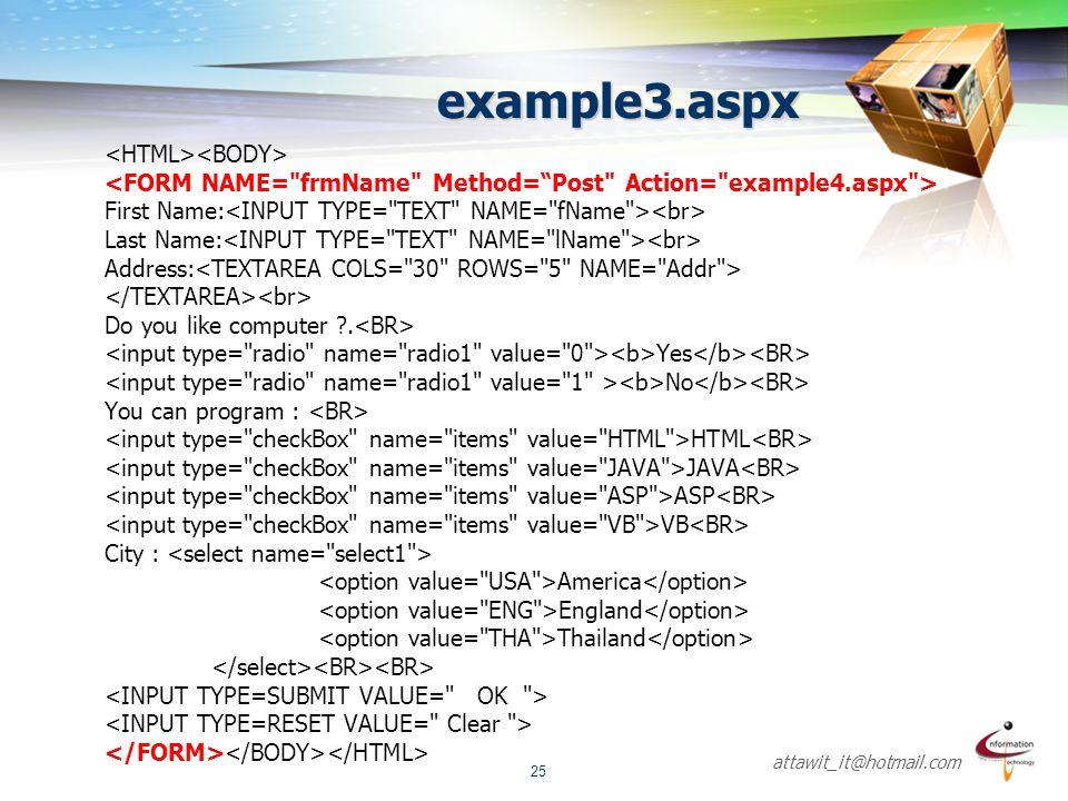 example3.aspx <HTML><BODY>