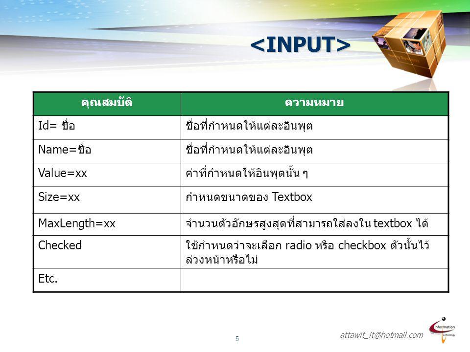 <INPUT> คุณสมบัติ ความหมาย Id= ชื่อ ชื่อที่กำหนดให้แต่ละอินพุต