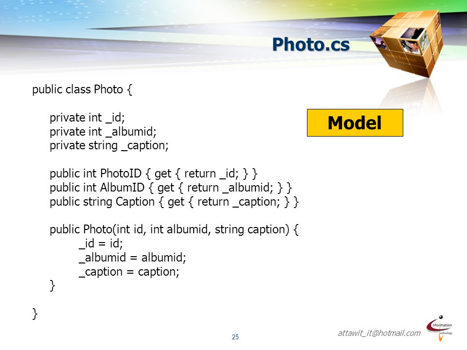 Photo.cs Model public class Photo { private int _id;