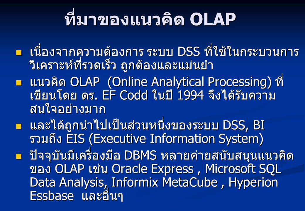 ที่มาของแนวคิด OLAP เนื่องจากความต้องการ ระบบ DSS ที่ใช้ในกระบวนการวิเคราะห์ที่รวดเร็ว ถูกต้องและแม่นยำ.