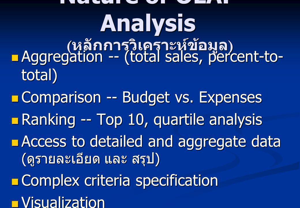 Nature of OLAP Analysis (หลักการวิเคราะห์ข้อมูล)