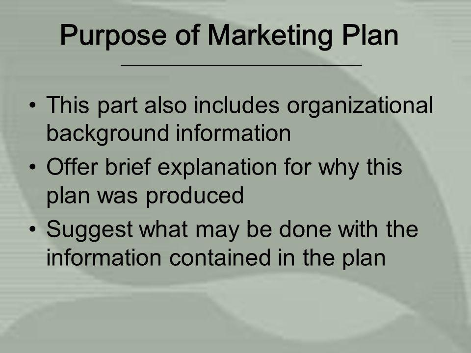 Purpose of Marketing Plan