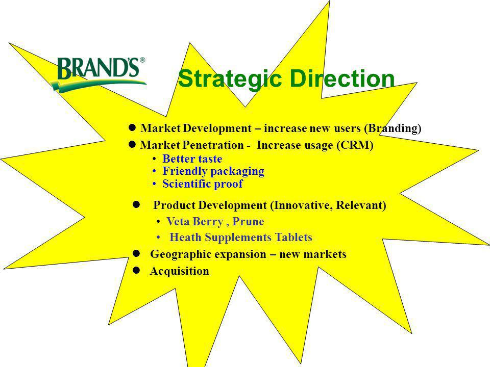 Strategic Direction Market Development – increase new users (Branding)