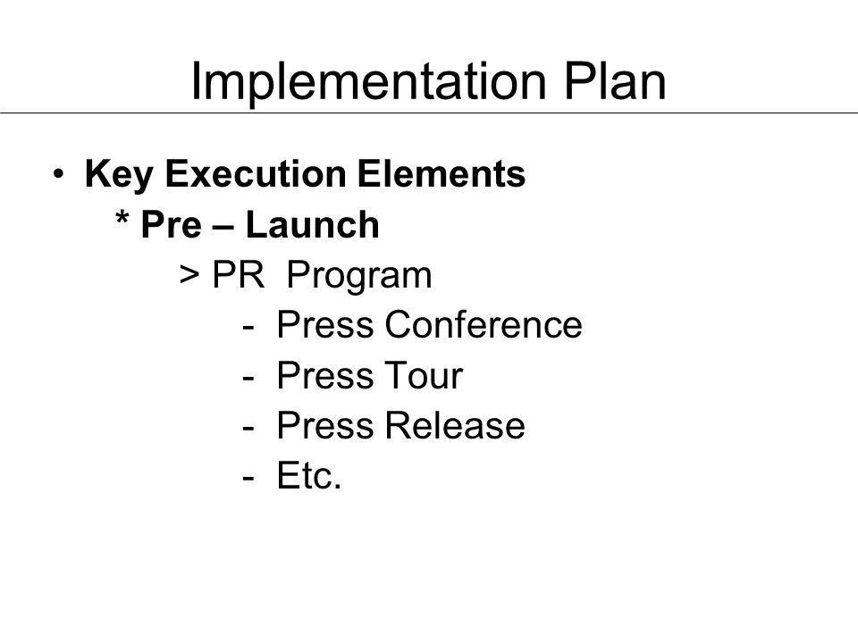 Implementation Plan Key Execution Elements * Pre – Launch
