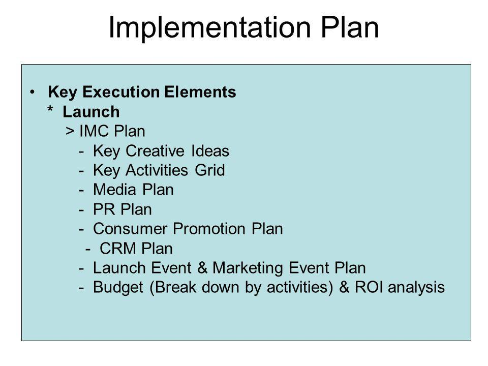 Implementation Plan Key Execution Elements * Launch > IMC Plan