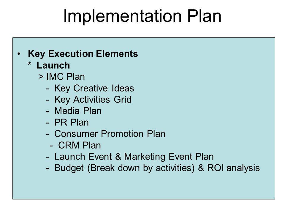 Implementation Plan Key Execution Elements * Launch > IMC Plan