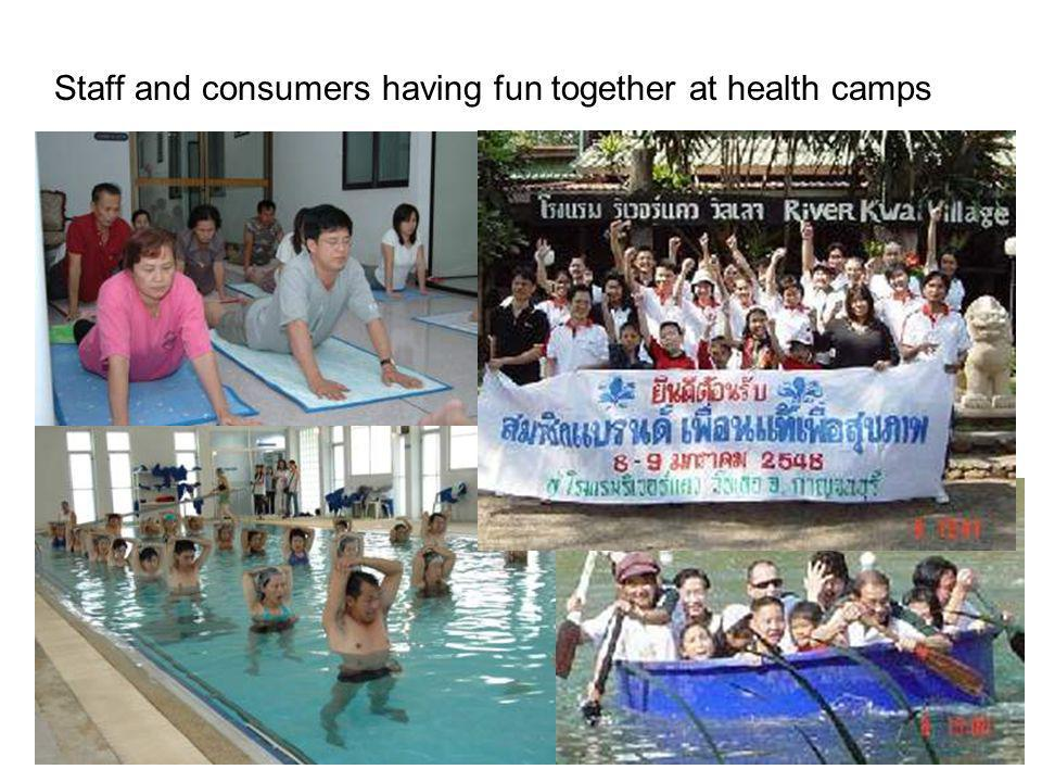 Staff and consumers having fun together at health camps