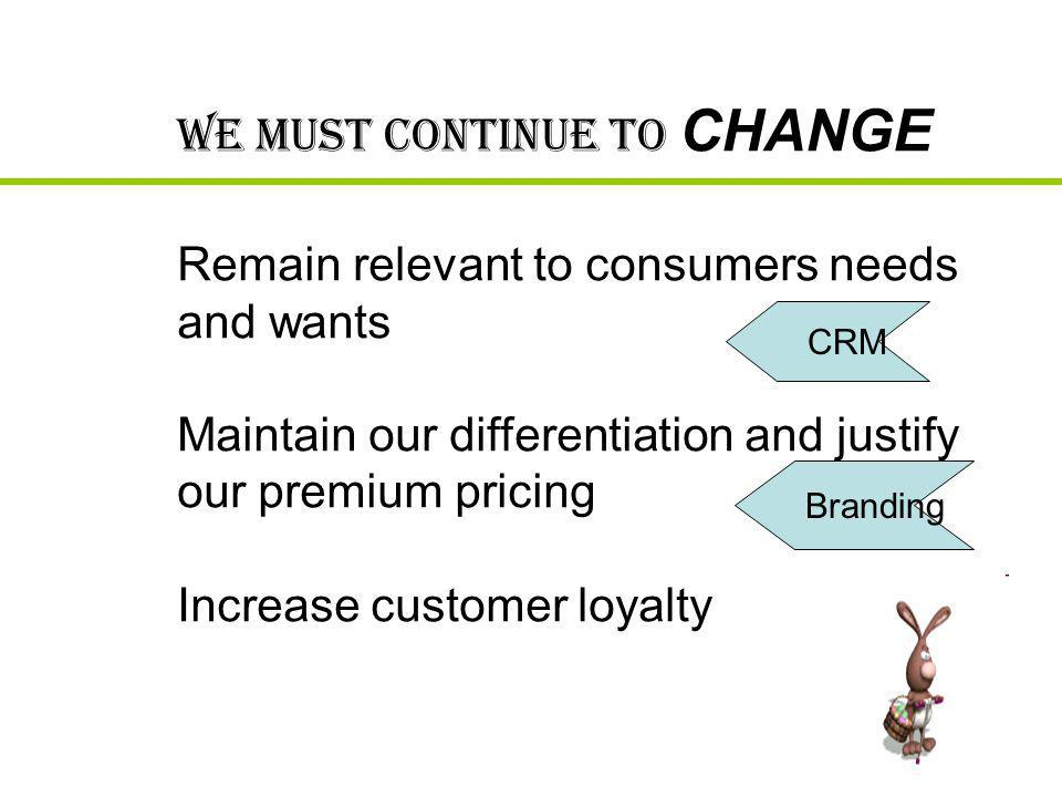 Maintain our differentiation and justify our premium pricing