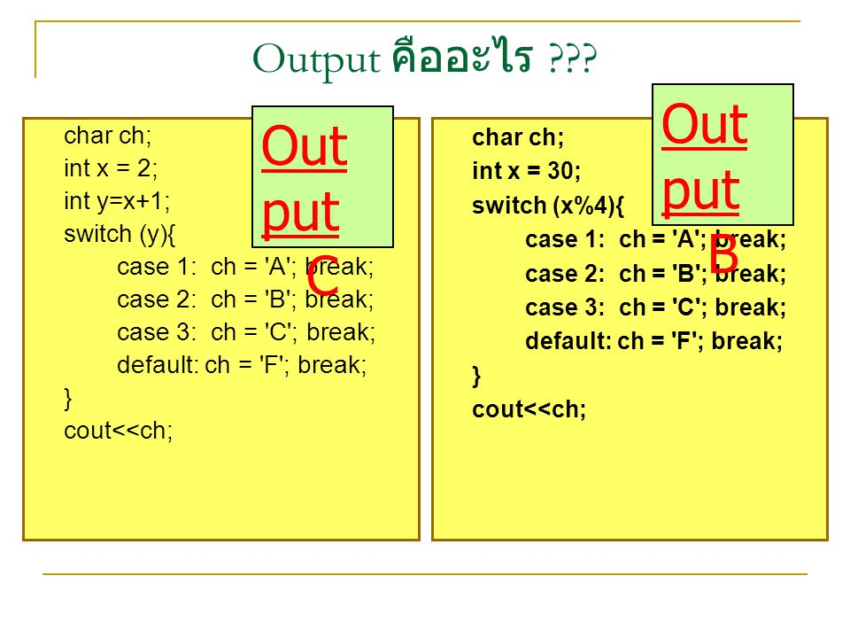 Out put Out put B C Output คืออะไร char ch; int x = 2; int y=x+1;