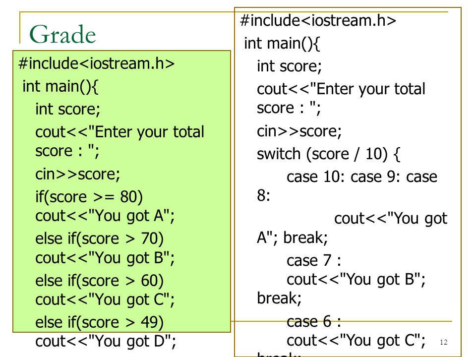Grade #include<iostream.h> int main(){ int score;