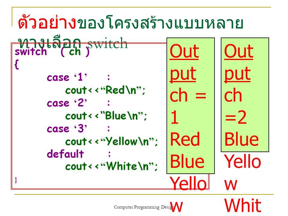 ตัวอย่างของโครงสร้างแบบหลายทางเลือก switch