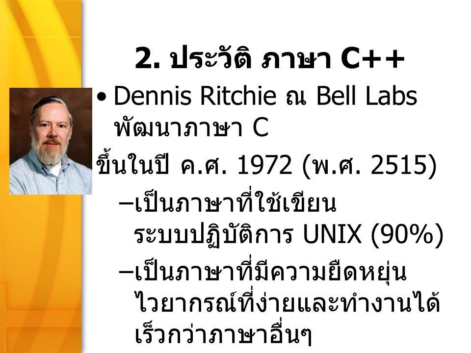 2. ประวัติ ภาษา C++ Dennis Ritchie ณ Bell Labs พัฒนาภาษา C
