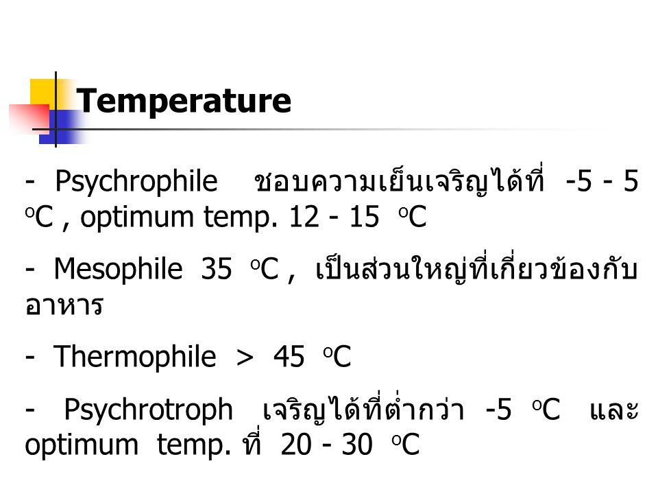 Temperature - Psychrophile ชอบความเย็นเจริญได้ที่ -5 - 5 oC , optimum temp. 12 - 15 oC.
