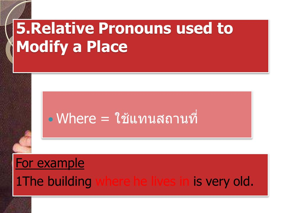 5.Relative Pronouns used to Modify a Place