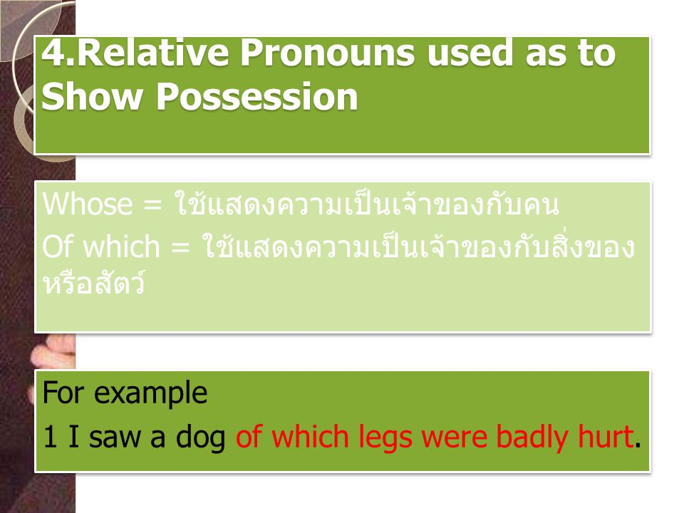 4.Relative Pronouns used as to Show Possession