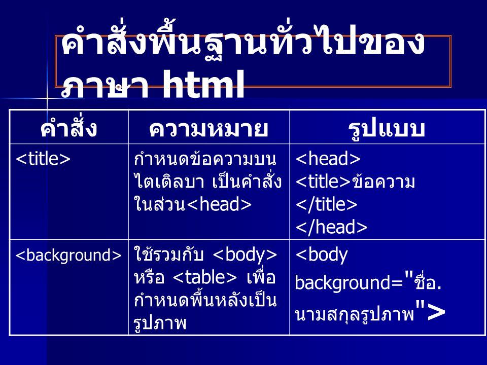 คำสั่งพื้นฐานทั่วไปของภาษา html