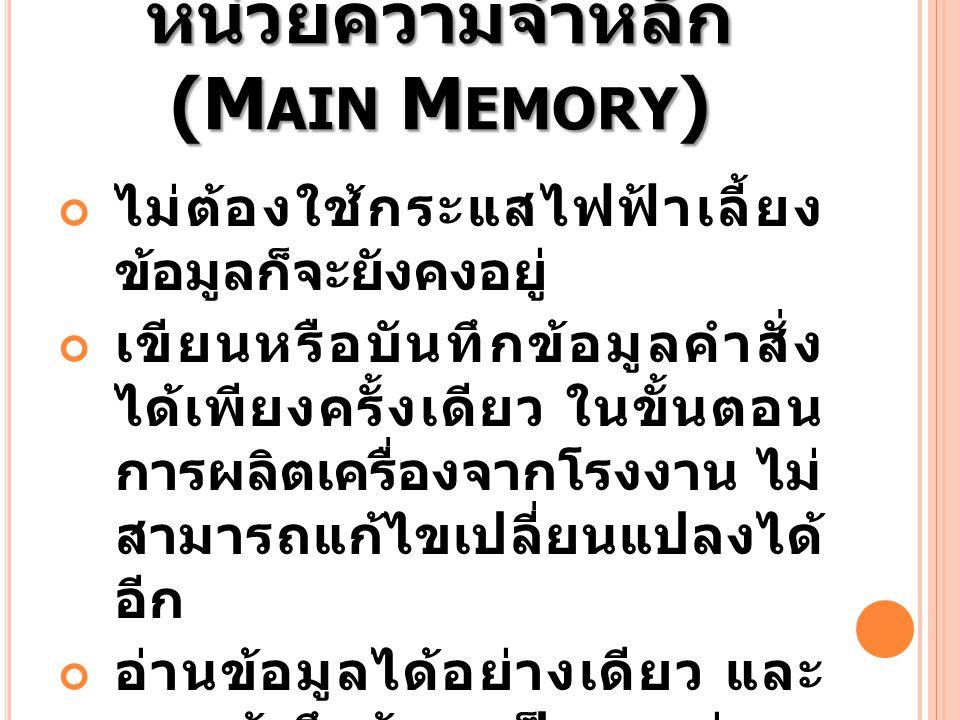 หน่วยความจำหลัก (Main Memory)