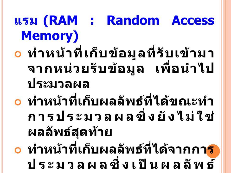 แรม (RAM : Random Access Memory)