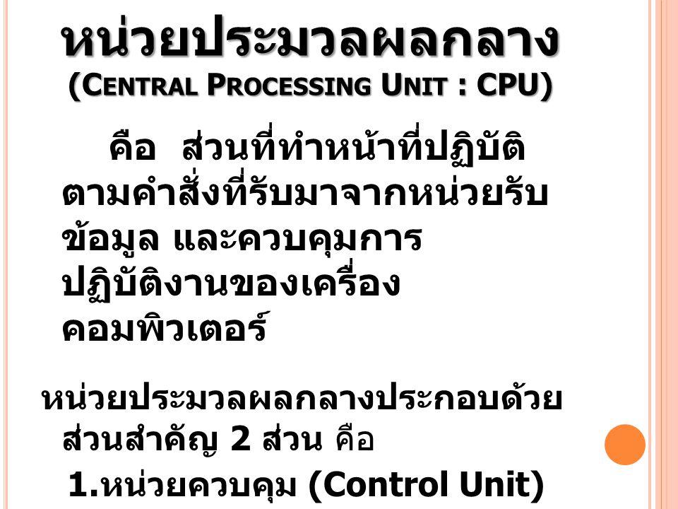 หน่วยประมวลผลกลาง (Central Processing Unit : CPU)