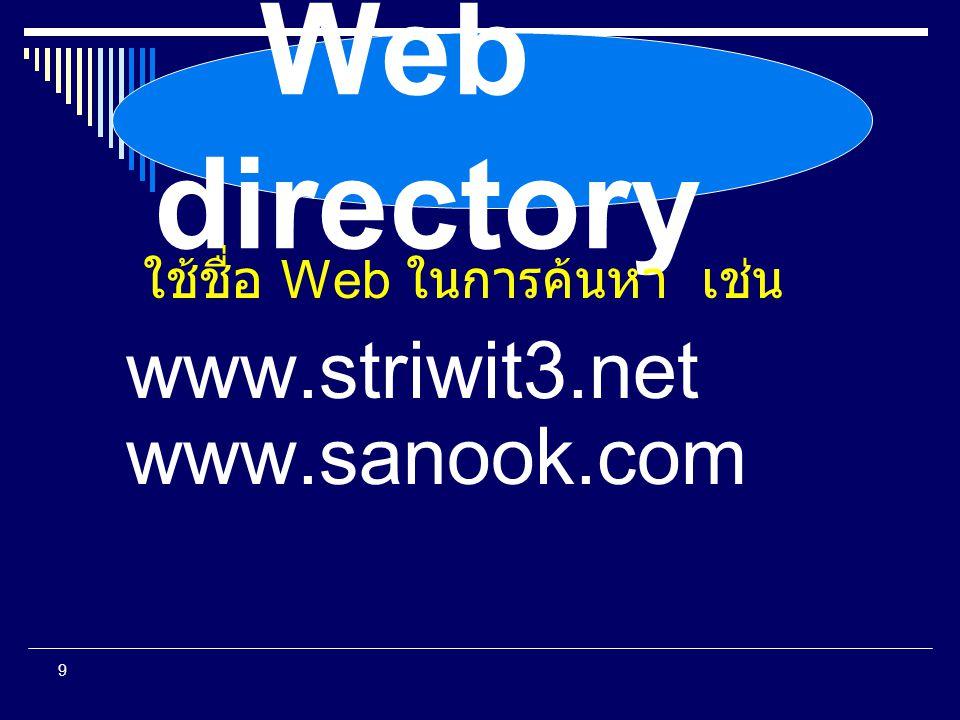 Web directory ใช้ชื่อ Web ในการค้นหา เช่น