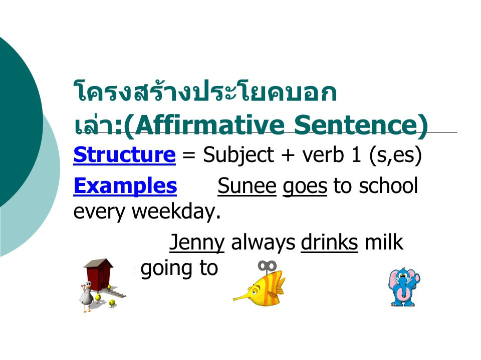 โครงสร้างประโยคบอกเล่า:(Affirmative Sentence)