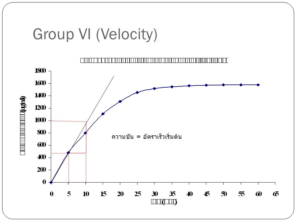 Group VI (Velocity) ความชัน = อัตราเร็วเริ่มต้น