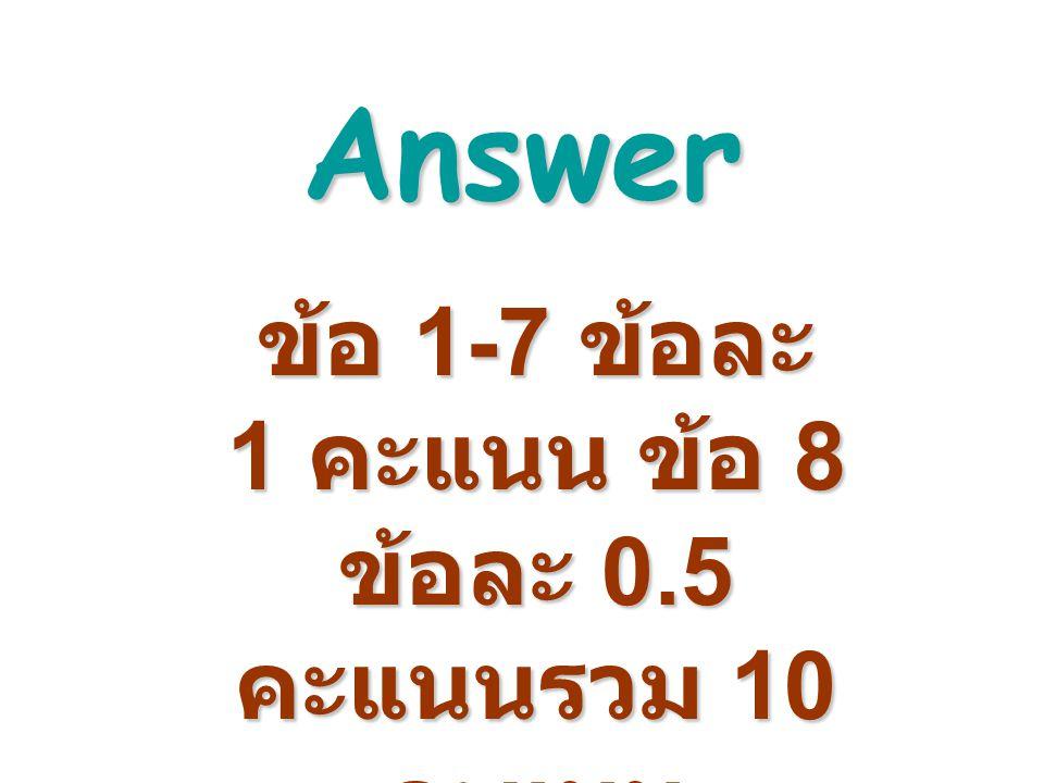 ข้อ 1-7 ข้อละ 1 คะแนน ข้อ 8 ข้อละ 0.5 คะแนนรวม 10 คะแนน