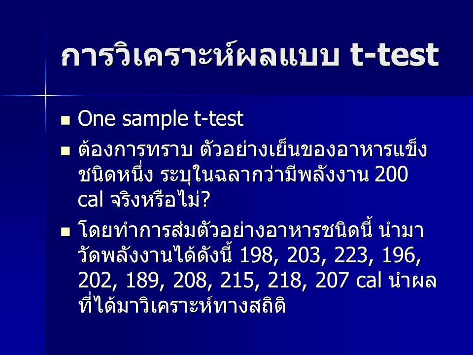 การวิเคราะห์ผลแบบ t-test
