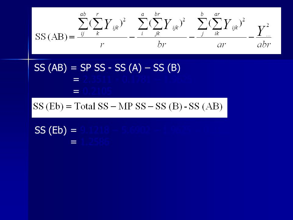 SS (AB) = SP SS - SS (A) – SS (B)