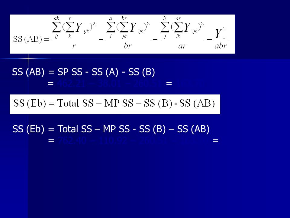 SS (AB) = SP SS - SS (A) - SS (B)