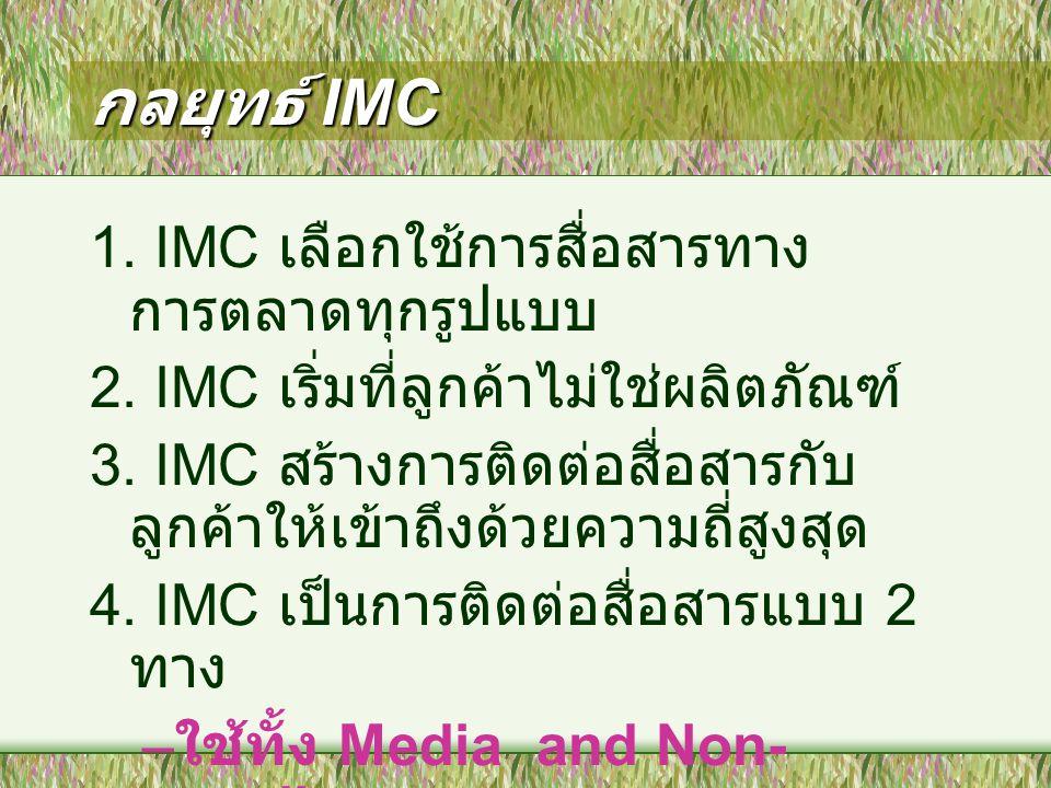 กลยุทธ์ IMC 1. IMC เลือกใช้การสื่อสารทางการตลาดทุกรูปแบบ