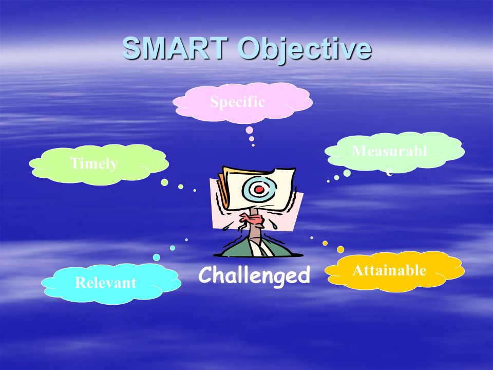 SMART Objective Challenged Specific Measurable Timely Attainable