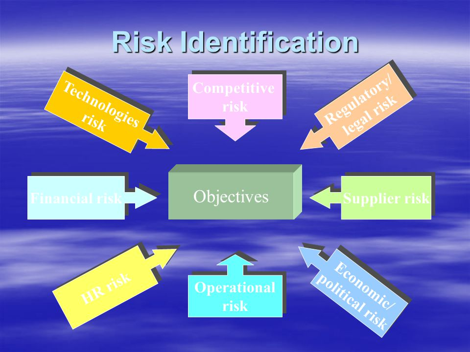 Risk Identification Objectives Competitive risk Regulatory/ legal risk