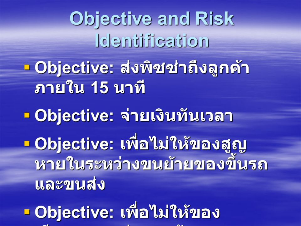 Objective and Risk Identification