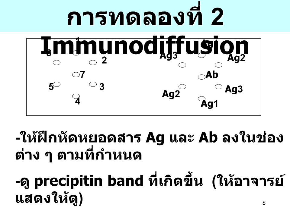 การทดลองที่ 2 Immunodiffusion