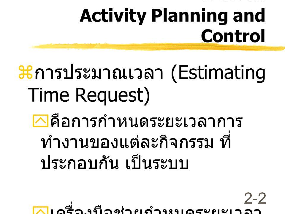 การประมาณเวลา (Estimating Time Request)
