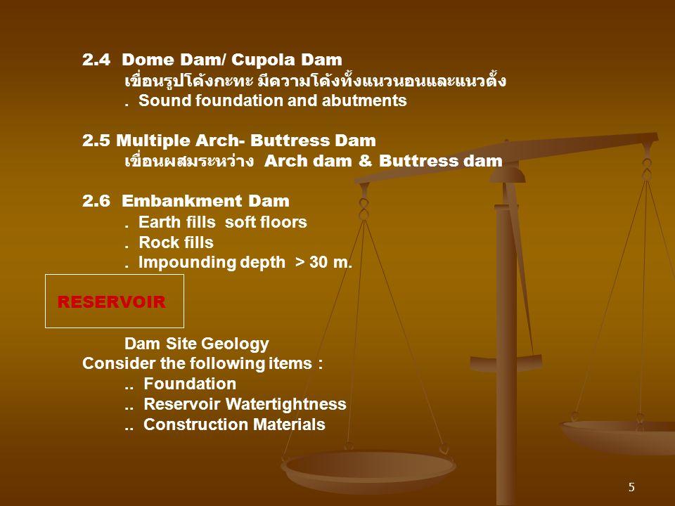 2.4 Dome Dam/ Cupola Dam เขื่อนรูปโค้งกะทะ มีความโค้งทั้งแนวนอนและแนวตั้ง. . Sound foundation and abutments.