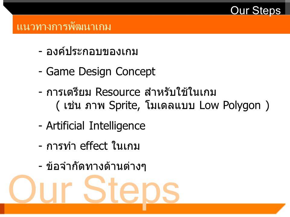 Our Steps Our Steps แนวทางการพัฒนาเกม องค์ประกอบของเกม