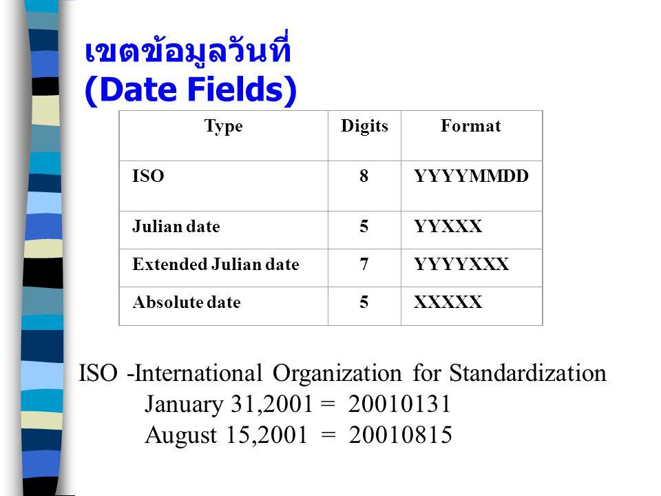 เขตข้อมูลวันที่ (Date Fields)