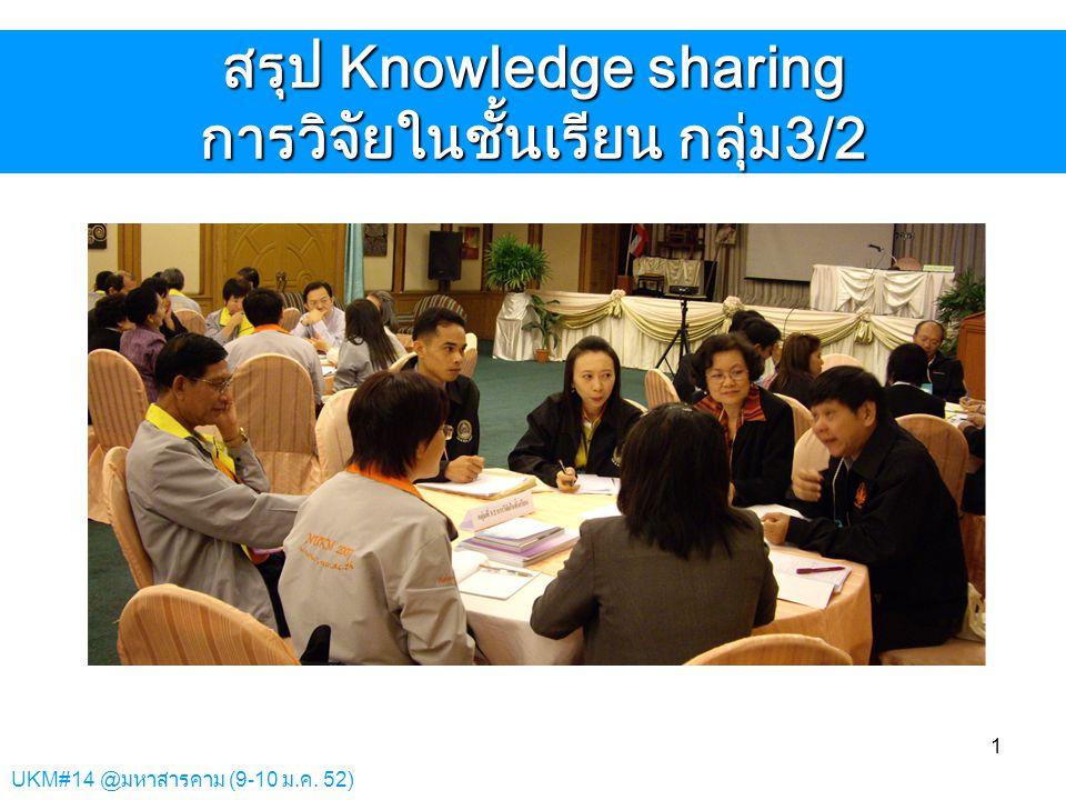 สรุป Knowledge sharing การวิจัยในชั้นเรียน กลุ่ม3/2