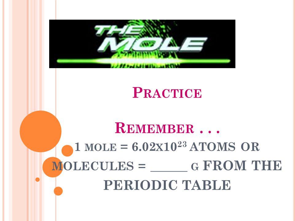 Practice Remember. 1 mole = 6